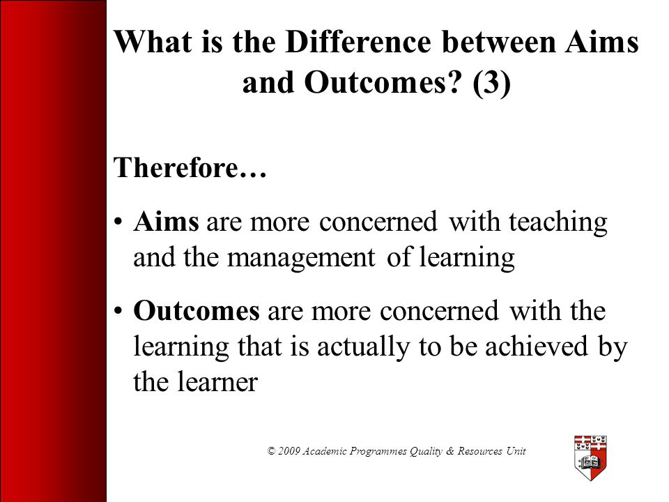 What is the Difference between Aims and Outcomes (3)