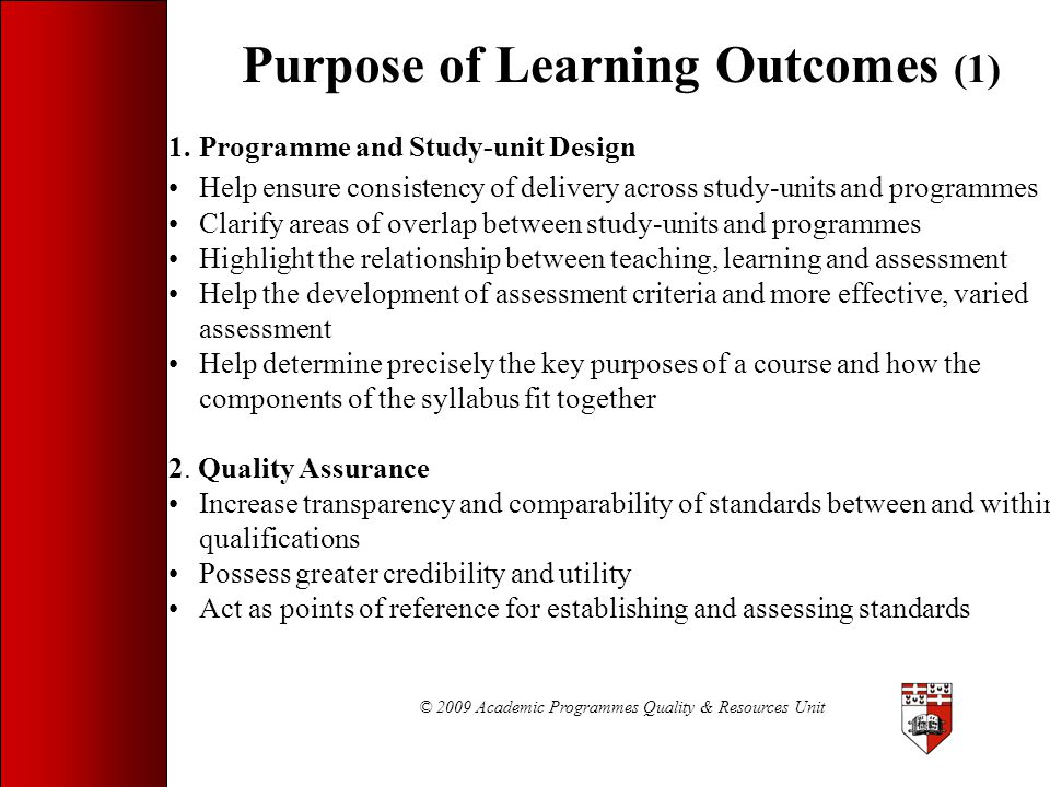 Purpose of Learning Outcomes (1)