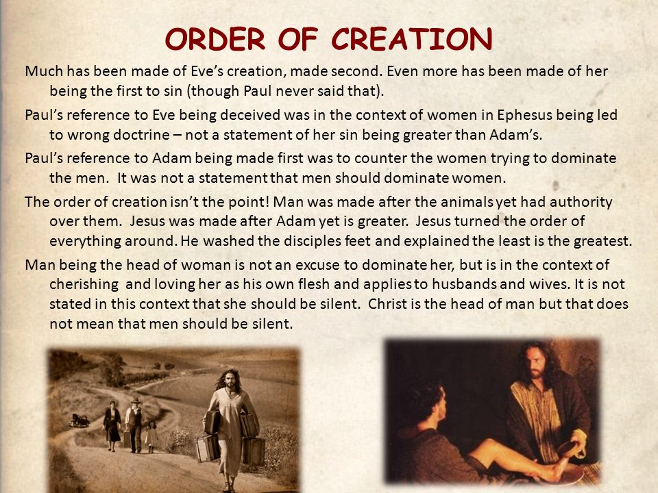 ORDER OF CREATION