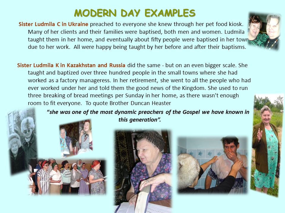 MODERN DAY EXAMPLES