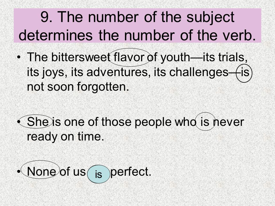 9. The number of the subject determines the number of the verb.