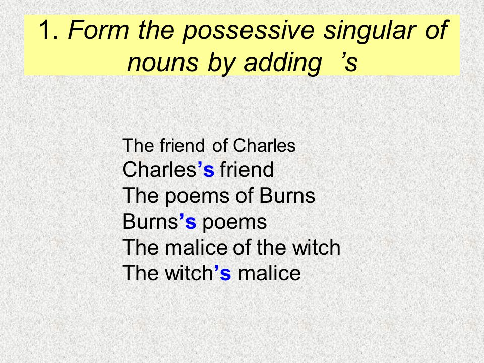 1. Form the possessive singular of nouns by adding 's