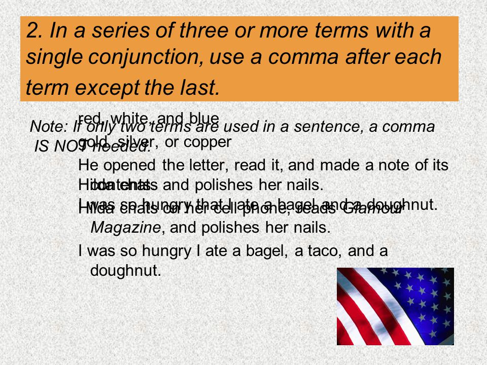 2. In a series of three or more terms with a single conjunction, use a comma after each term except the last.