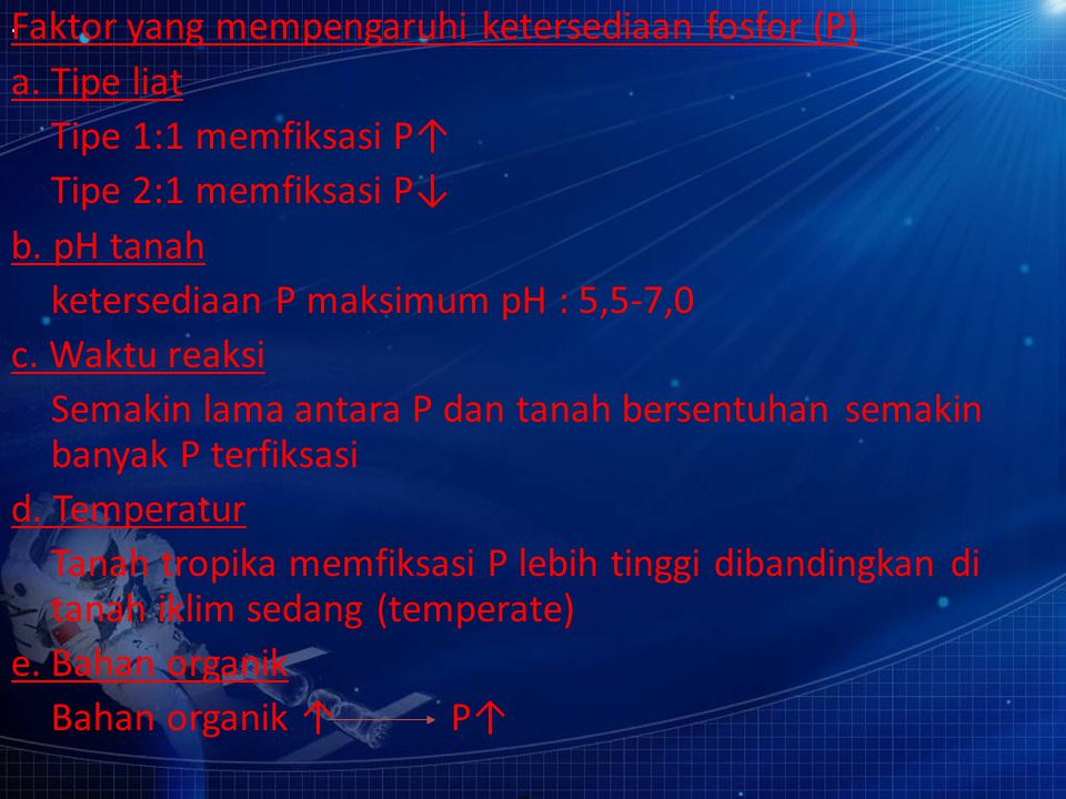 Faktor yang mempengaruhi ketersediaan fosfor (P)
