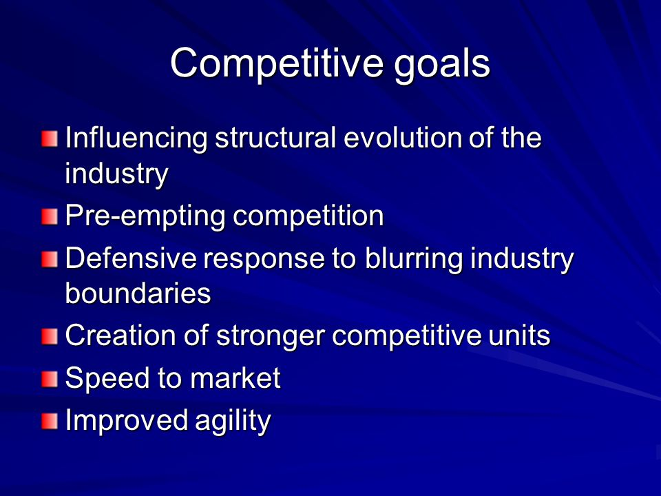Competitive goals Influencing structural evolution of the industry