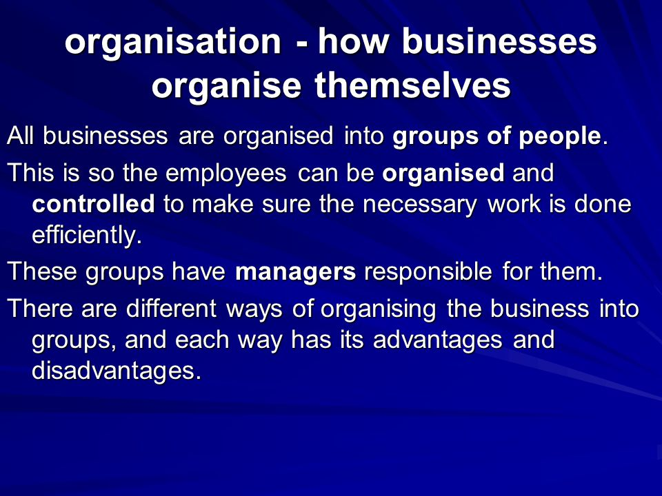 organisation - how businesses organise themselves