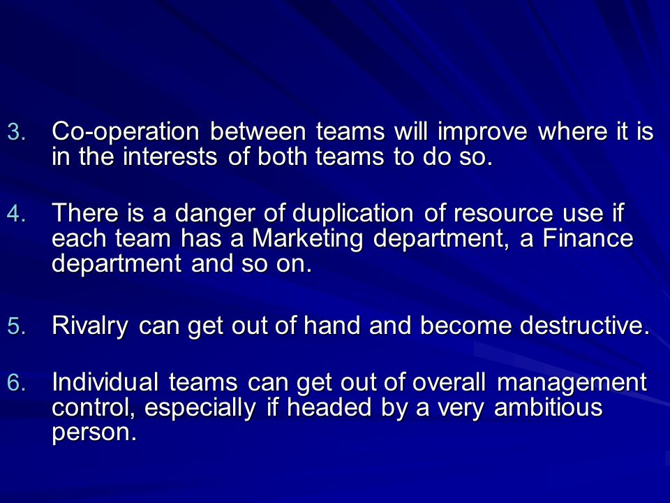 Co-operation between teams will improve where it is in the interests of both teams to do so.