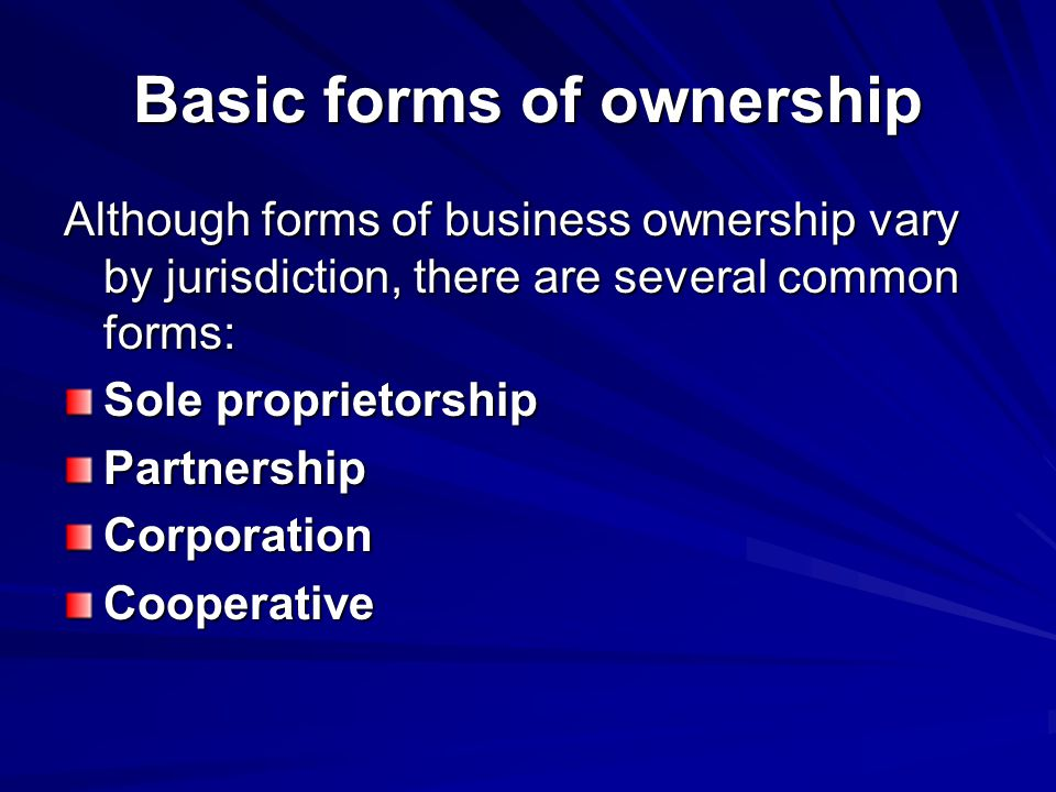 Basic forms of ownership