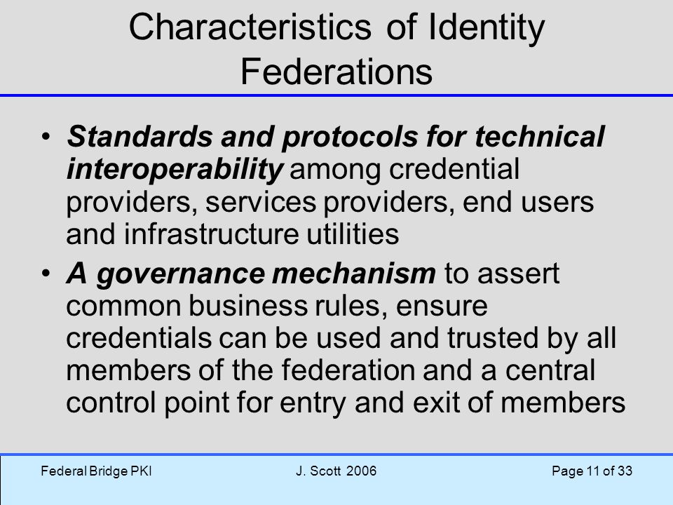 Characteristics of Identity Federations