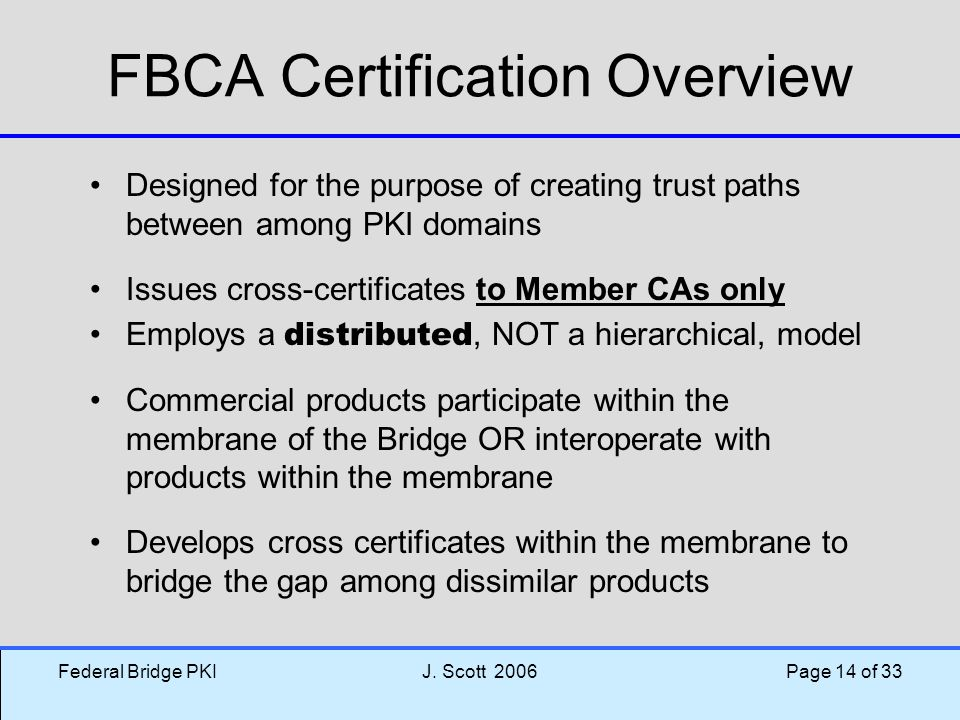 FBCA Certification Overview