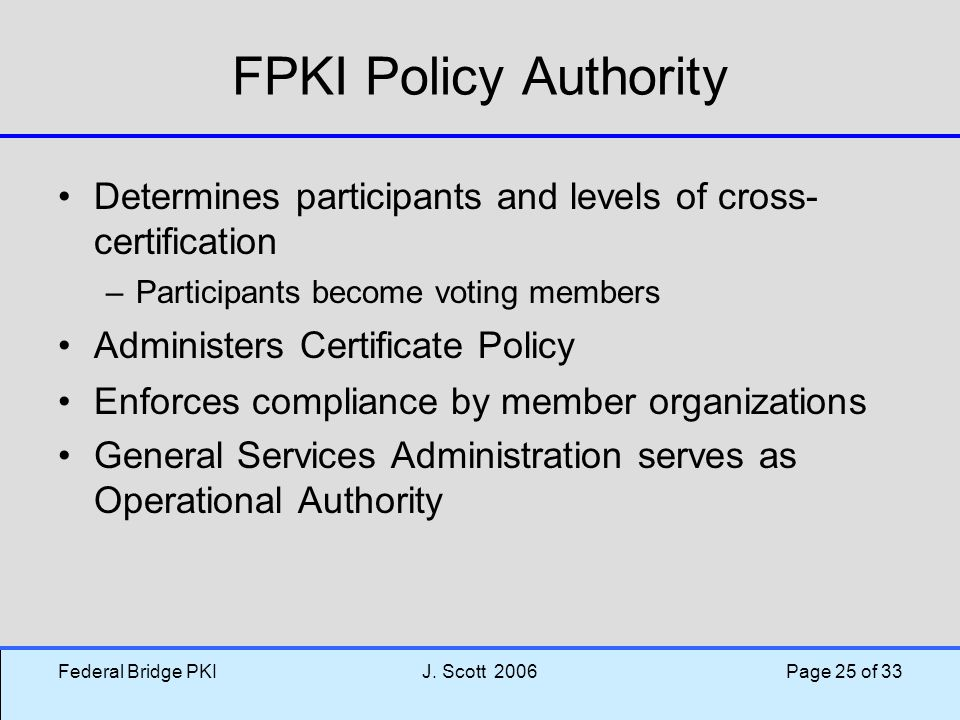 FPKI Policy Authority Determines participants and levels of cross-certification. Participants become voting members.