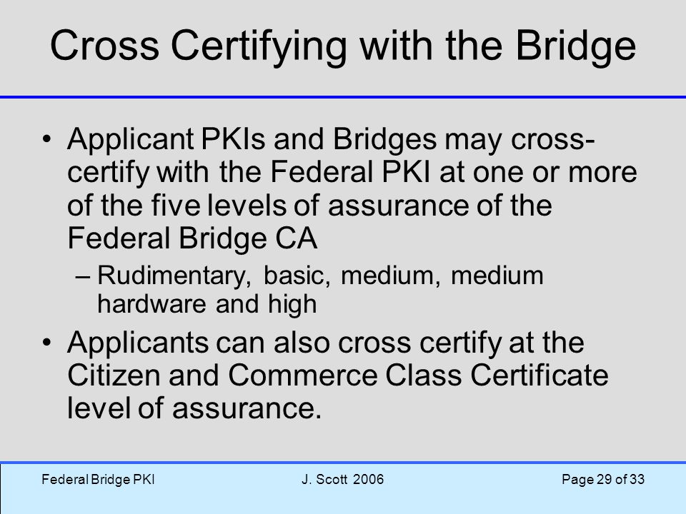 Cross Certifying with the Bridge