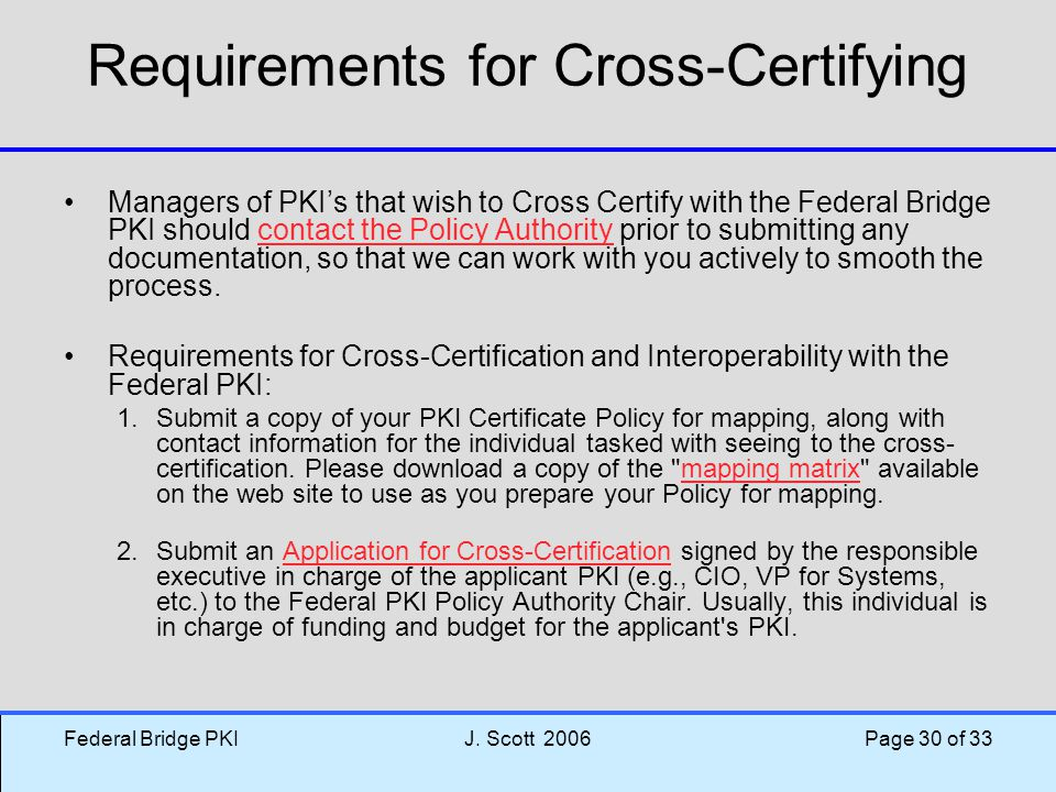 Requirements for Cross-Certifying