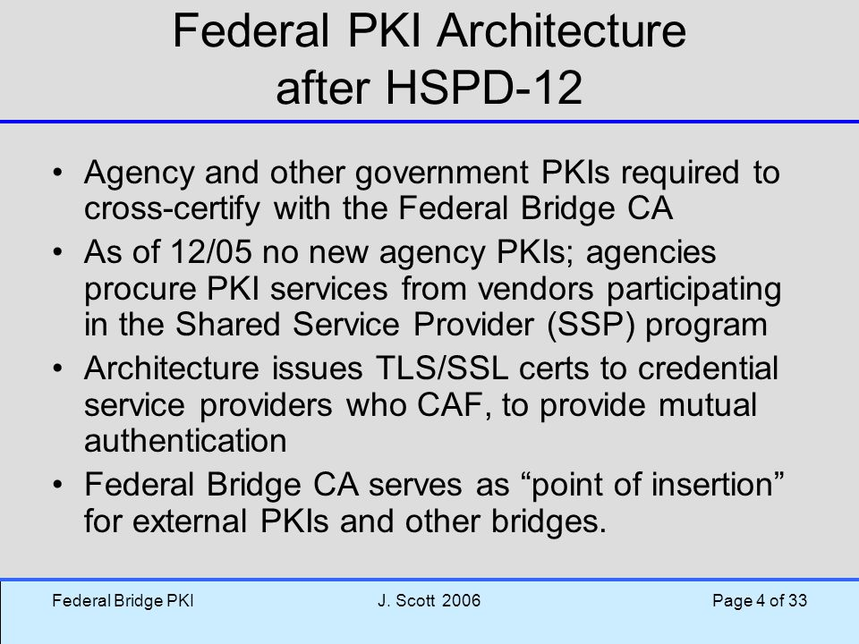 Federal PKI Architecture after HSPD-12