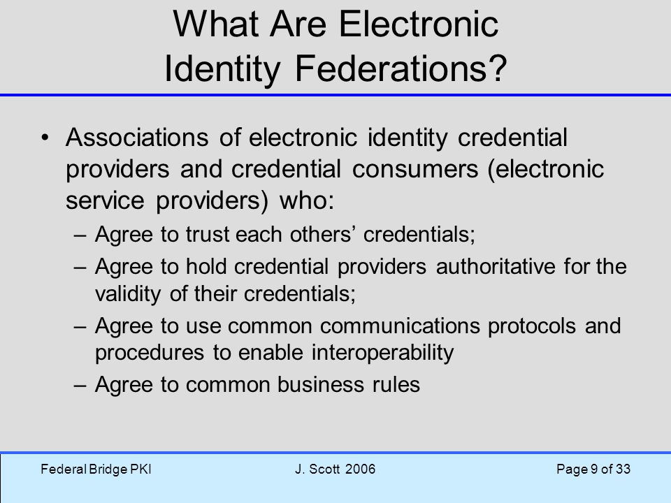 What Are Electronic Identity Federations