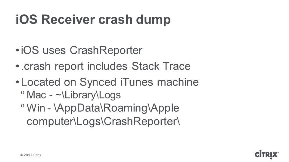 iOS Receiver crash dump