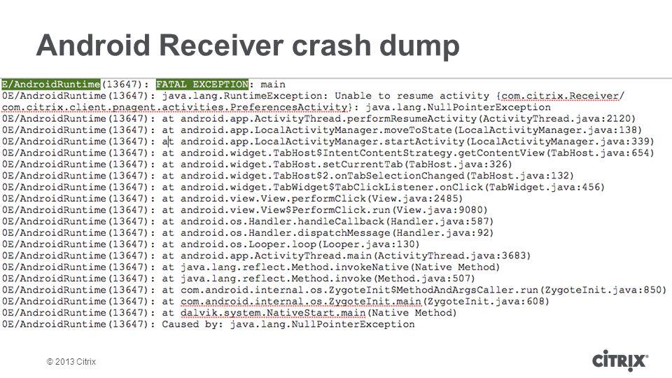 Android Receiver crash dump