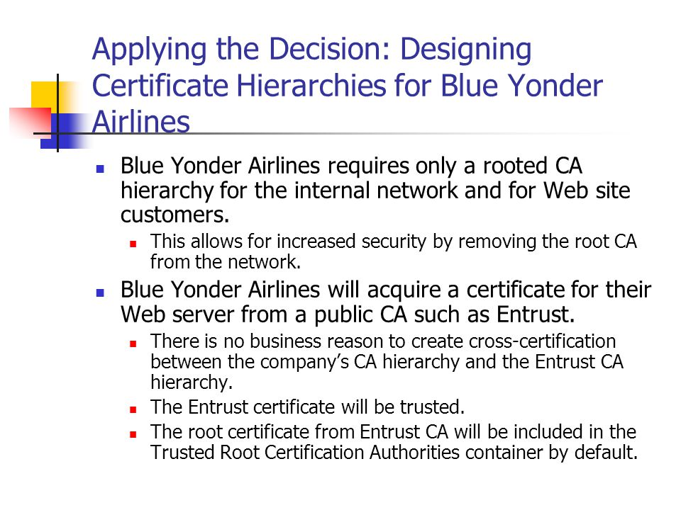Applying the Decision: Designing Certificate Hierarchies for Blue Yonder Airlines