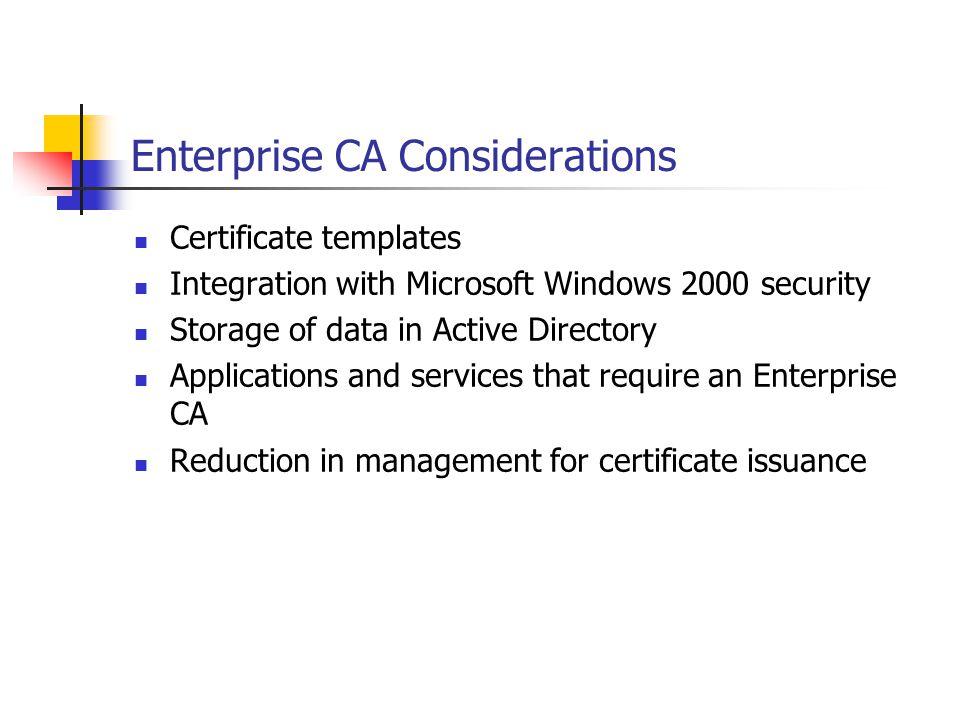 Enterprise CA Considerations