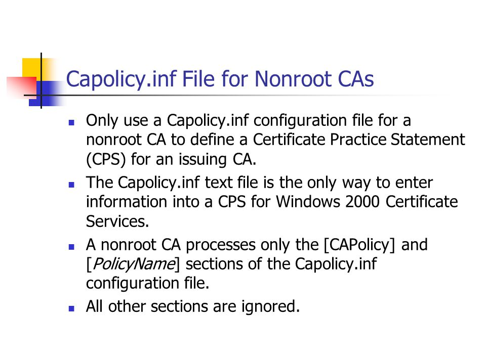 Capolicy.inf File for Nonroot CAs