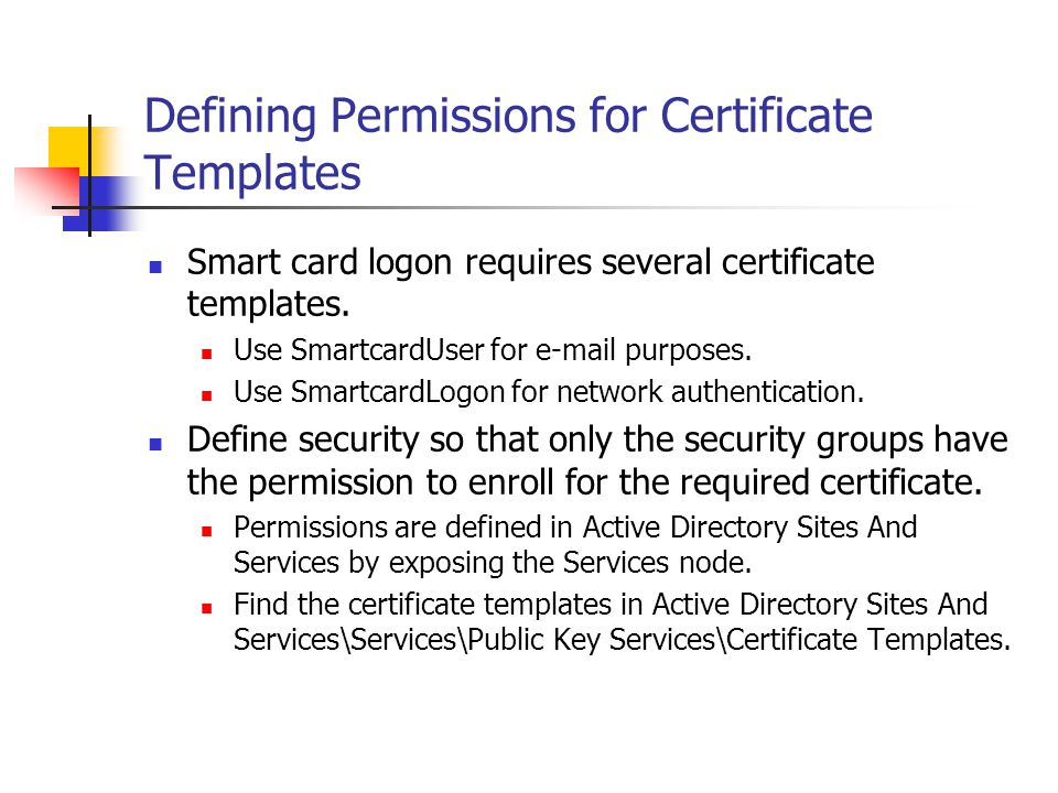 Defining Permissions for Certificate Templates