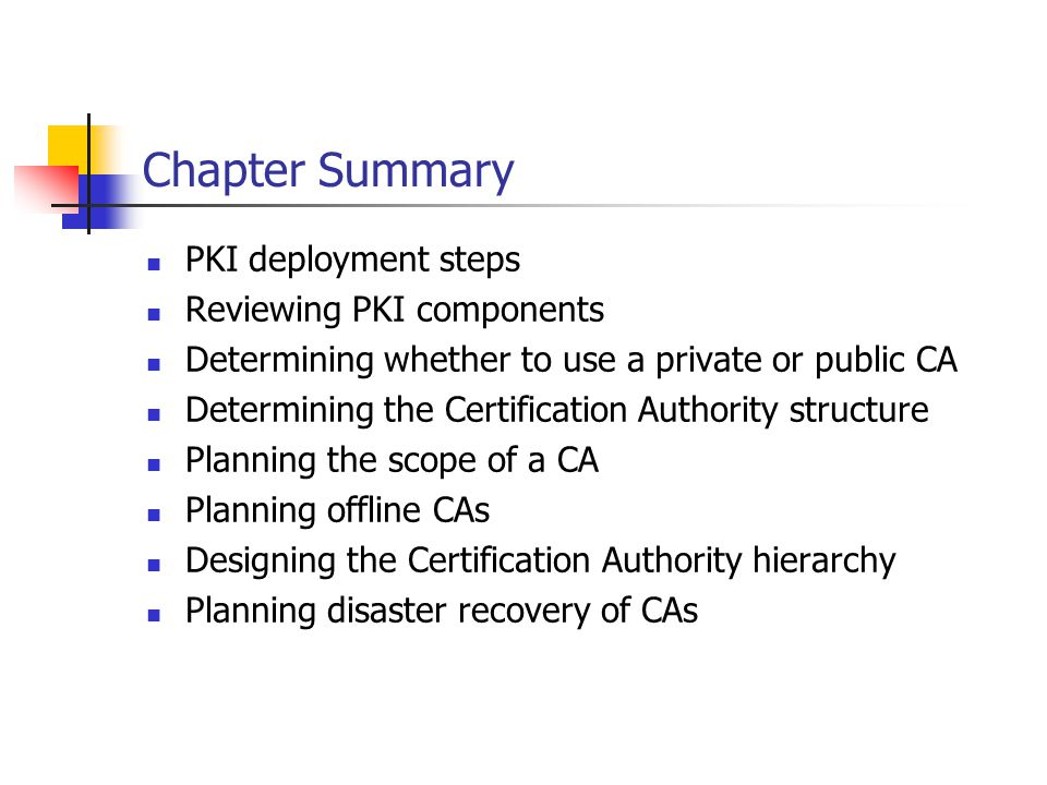 Chapter Summary PKI deployment steps Reviewing PKI components
