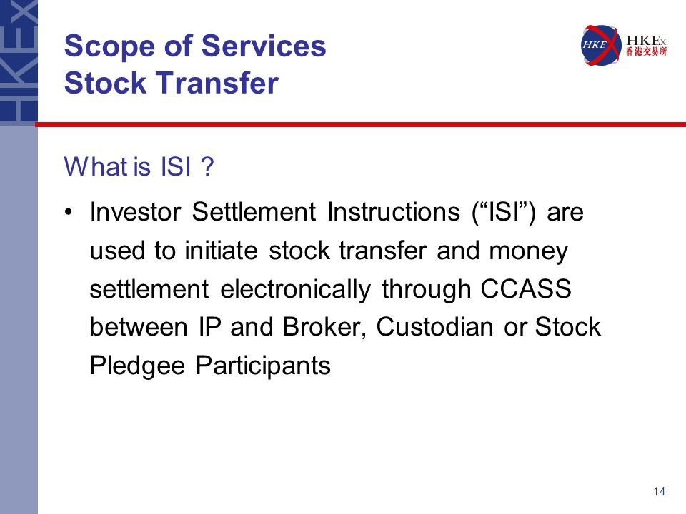 Scope of Services Stock Transfer