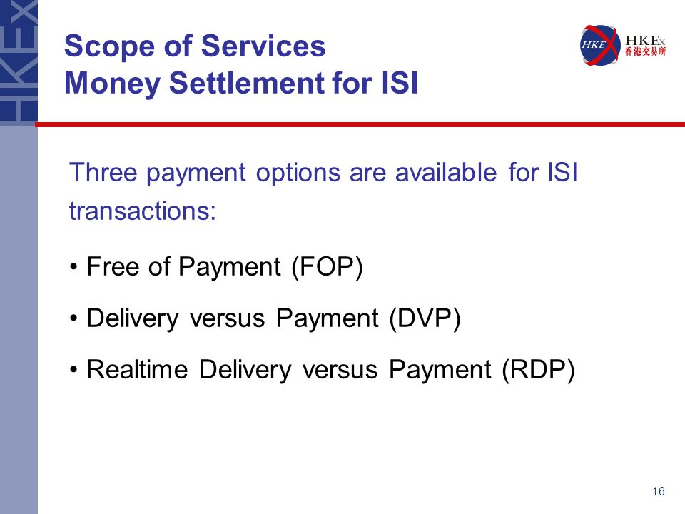 Scope of Services Money Settlement for ISI