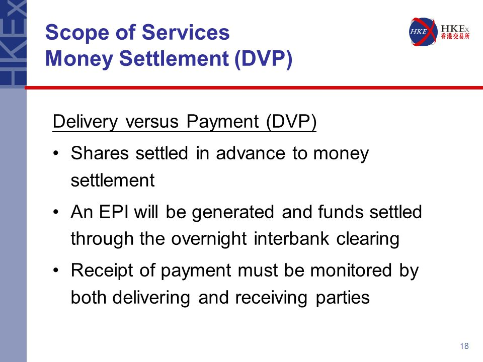 Scope of Services Money Settlement (DVP)