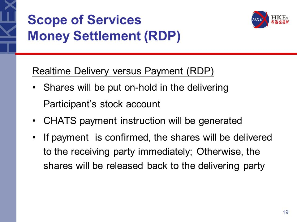 Scope of Services Money Settlement (RDP)