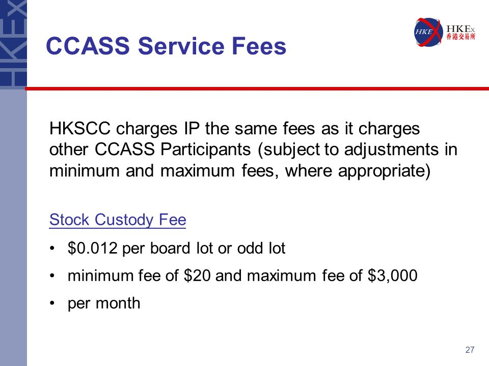 CCASS Service Fees