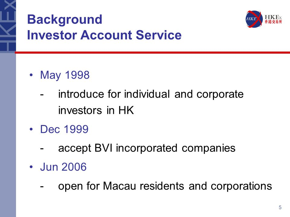 Background Investor Account Service