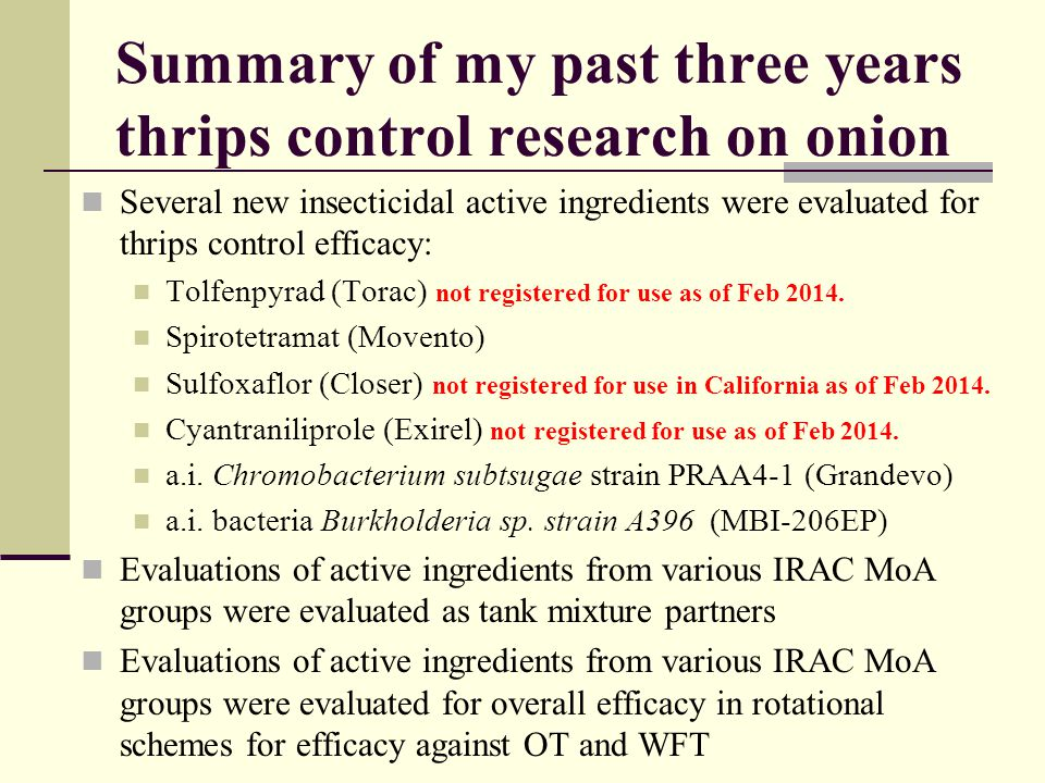 Summary of my past three years thrips control research on onion