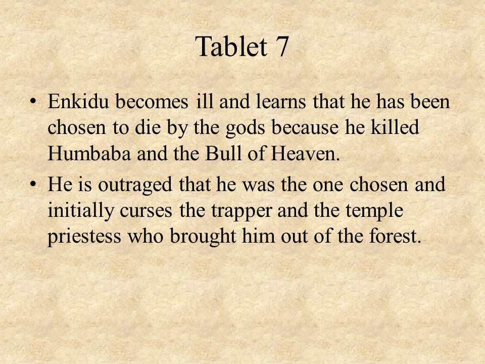 Tablet 7 Enkidu becomes ill and learns that he has been chosen to die by the gods because he killed Humbaba and the Bull of Heaven.