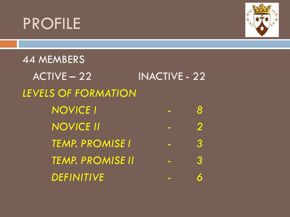 PROFILE 44 MEMBERS ACTIVE – 22 INACTIVE - 22 LEVELS OF FORMATION NOVICE I - 8 NOVICE II - 2 TEMP.