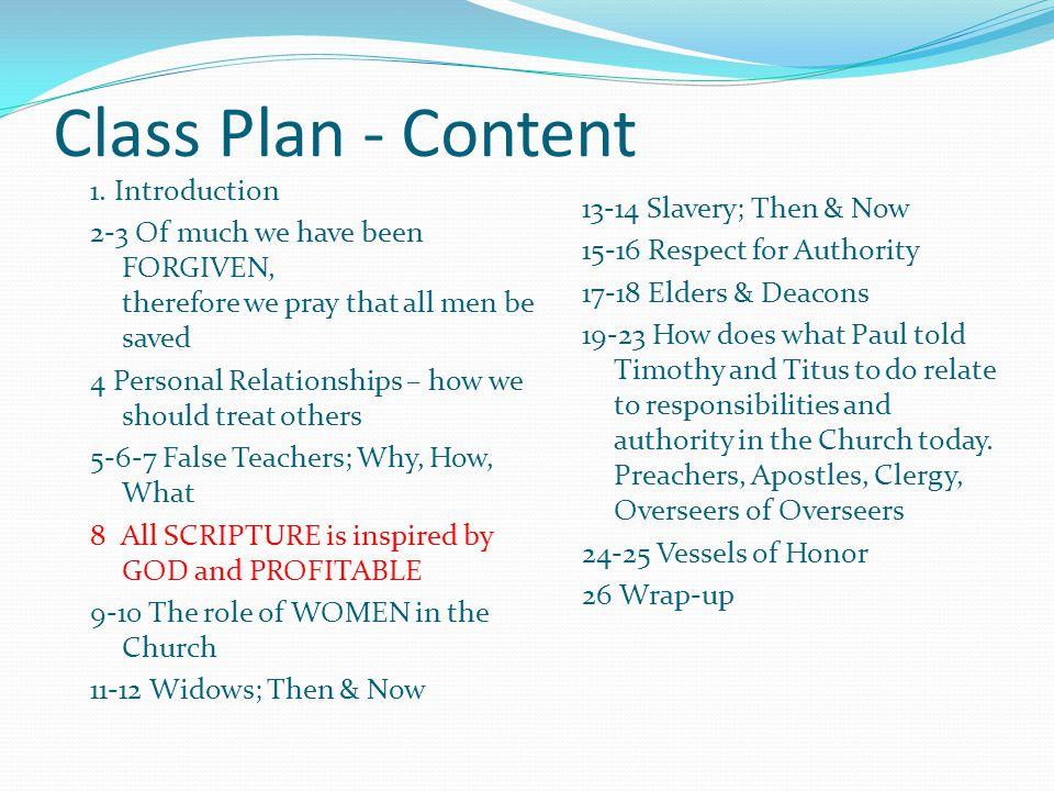 Class Plan - Content