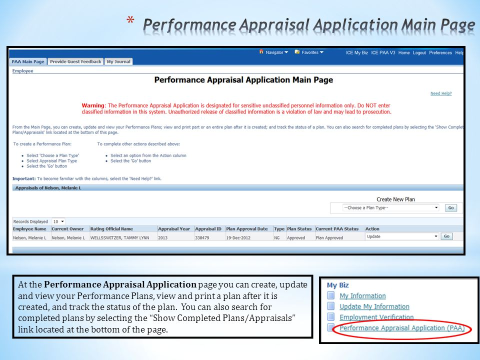 Performance Appraisal Application Main Page