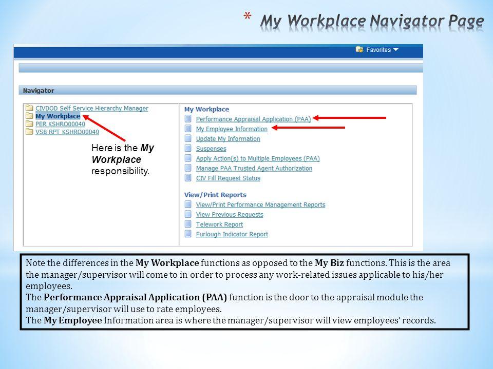 My Workplace Navigator Page