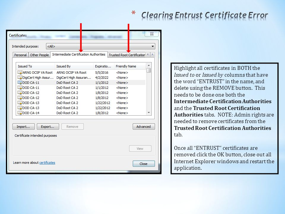 Clearing Entrust Certificate Error