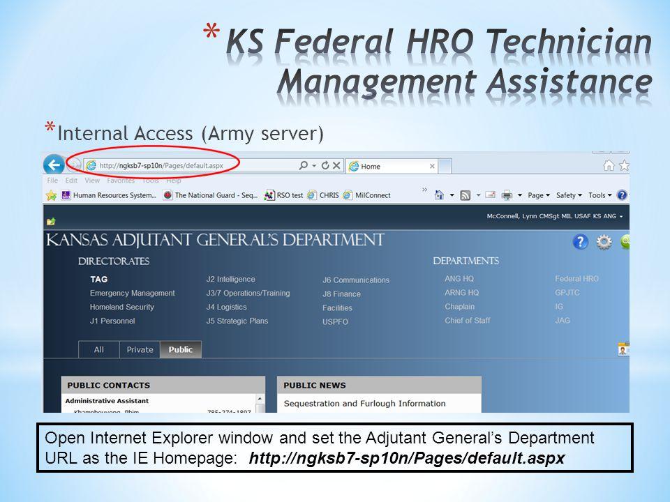 KS Federal HRO Technician Management Assistance