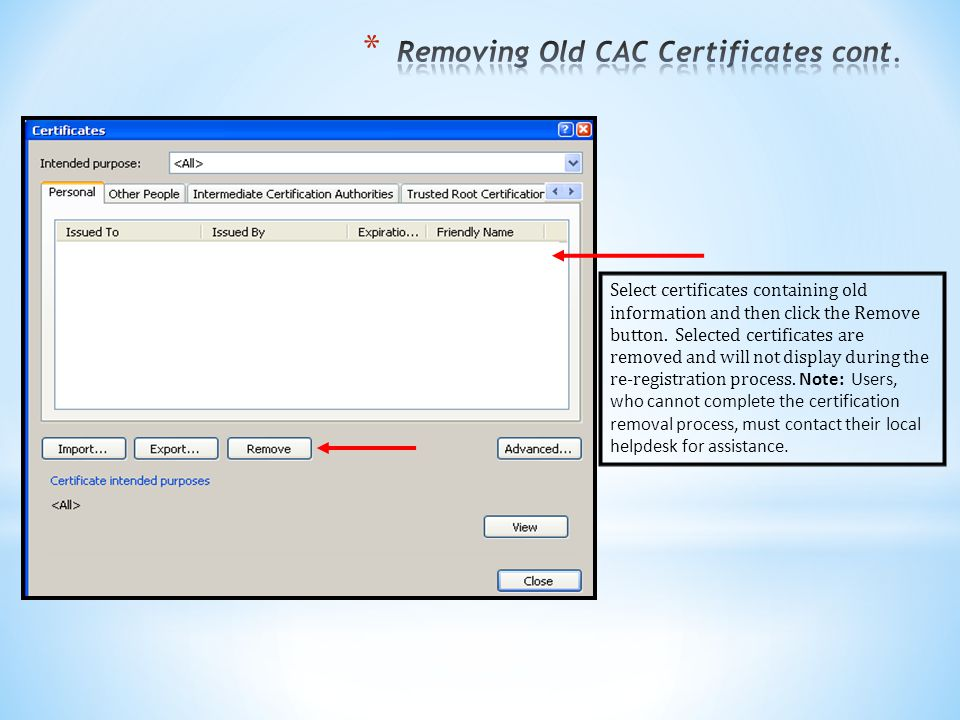 Removing Old CAC Certificates cont.