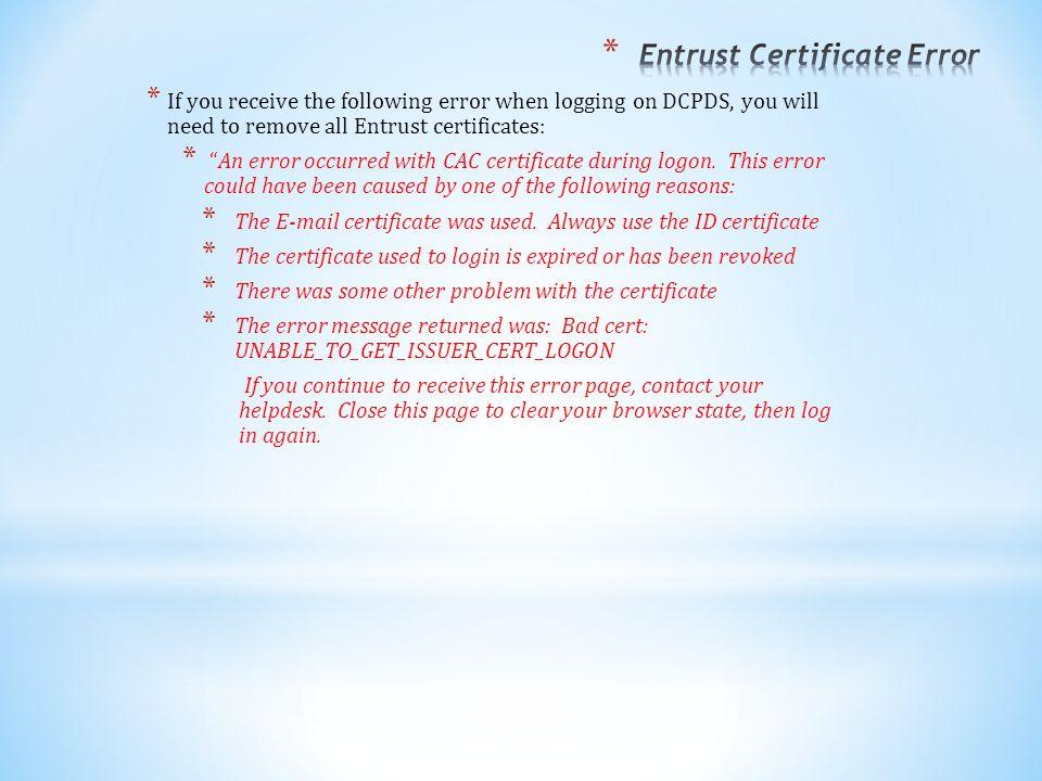 Entrust Certificate Error
