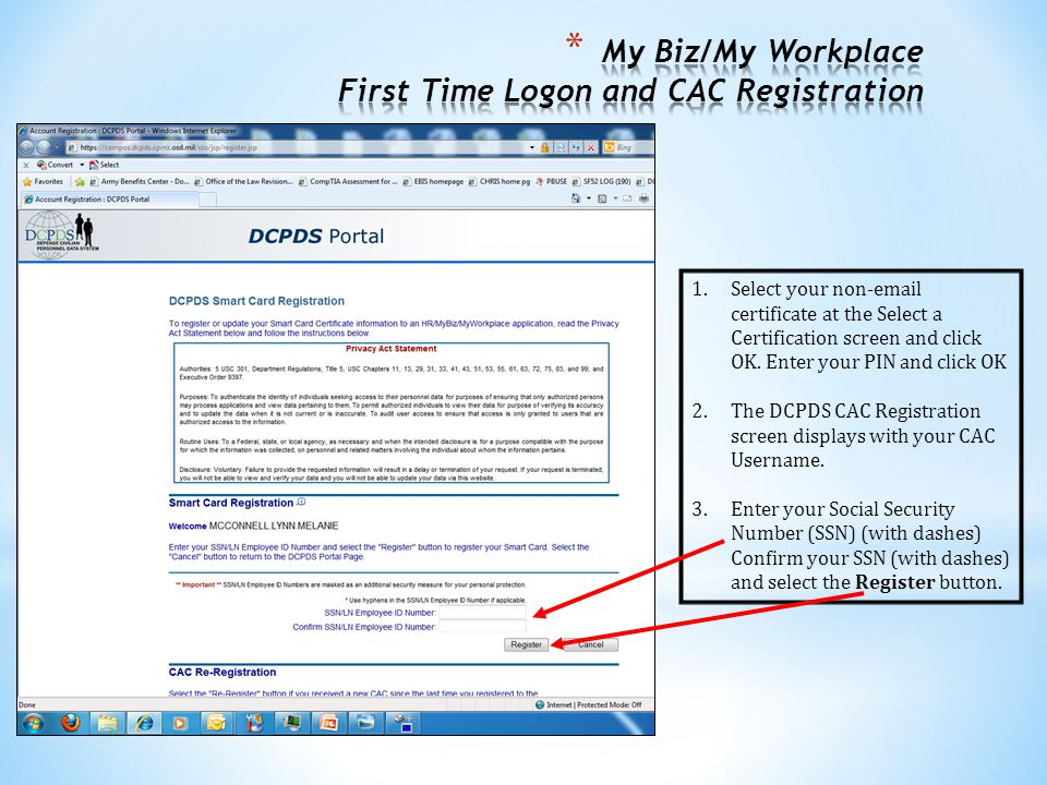 My Biz/My Workplace First Time Logon and CAC Registration