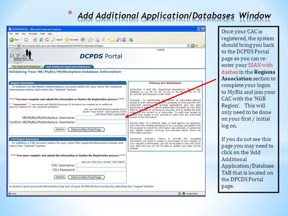 Add Additional Application/Databases Window