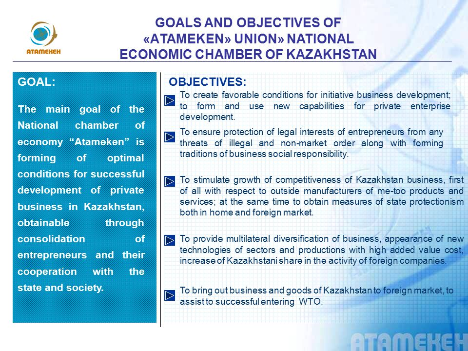 GOALS AND OBJECTIVES OF «АTAMEKEN» UNION» NATIONAL ECONOMIC CHAMBER OF KAZAKHSTAN