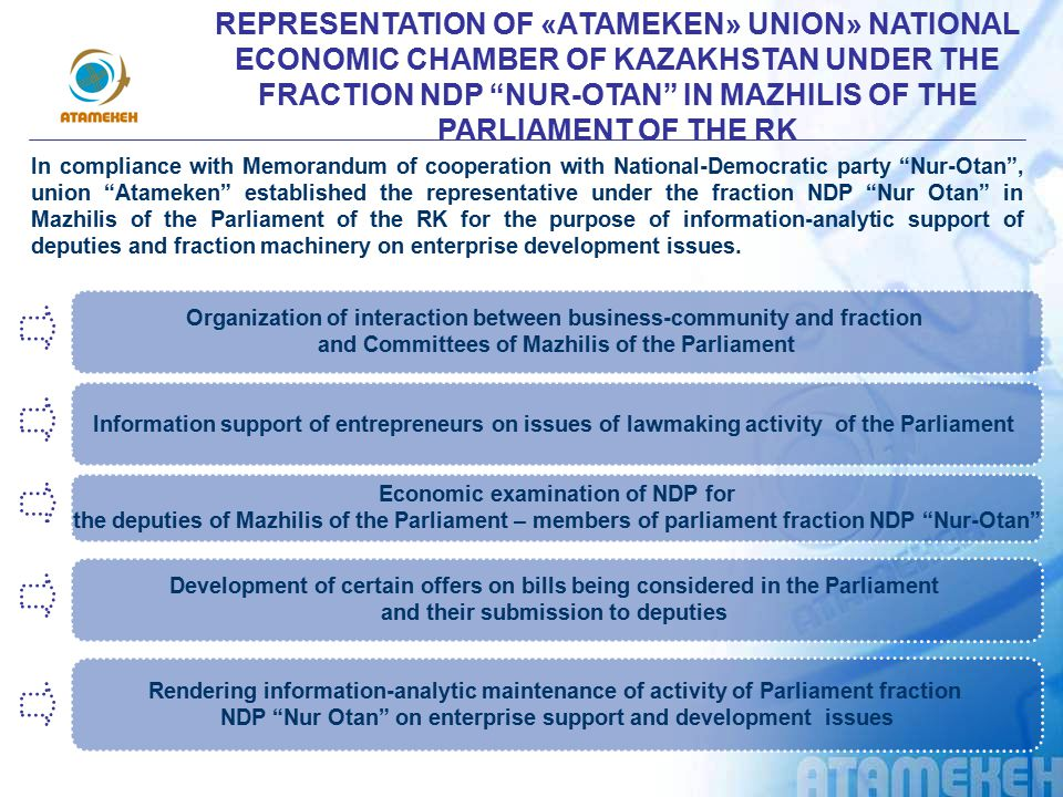 REPRESENTATION OF «АTAMEKEN» UNION» NATIONAL ECONOMIC CHAMBER OF KAZAKHSTAN UNDER THE FRACTION NDP NUR-OTAN IN MAZHILIS OF THE PARLIAMENT OF THE RK