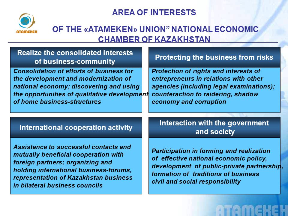OF THE «ATAMEKEN» UNION NATIONAL ECONOMIC CHAMBER OF KAZAKHSTAN