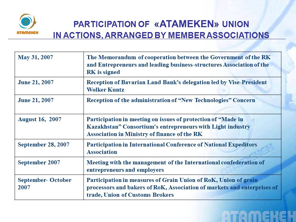 PARTICIPATION OF «АТАMEKEN» UNION