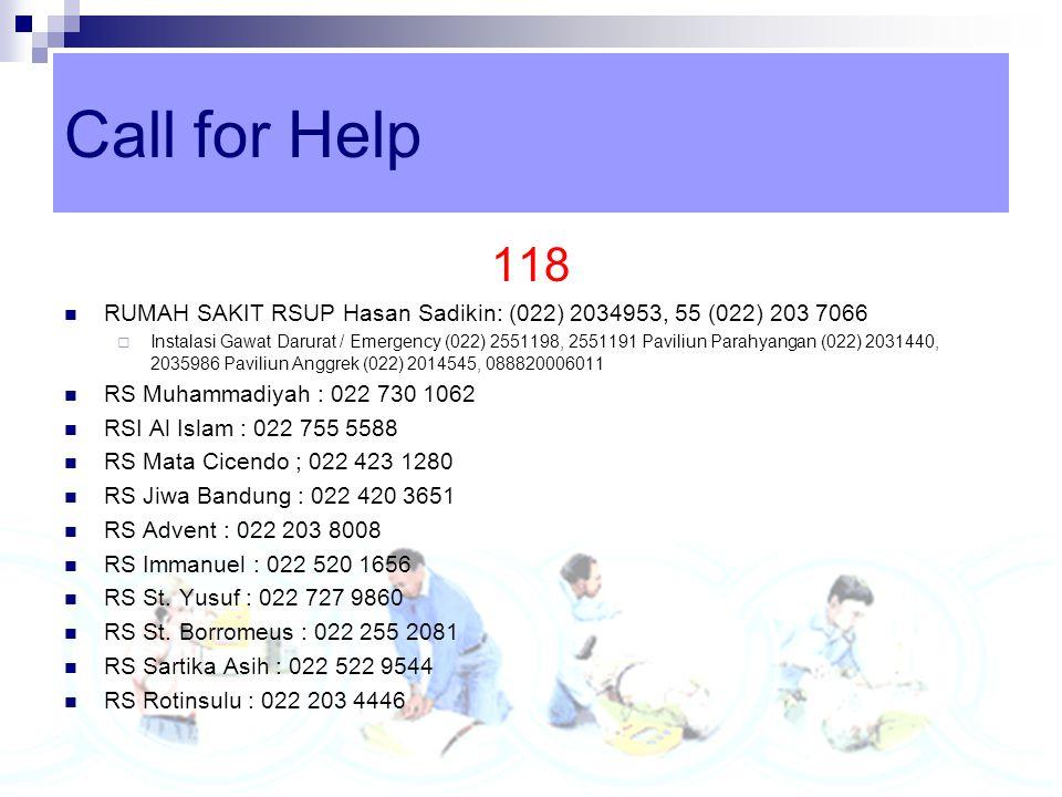 Call for Help 118. RUMAH SAKIT RSUP Hasan Sadikin: (022) 2034953, 55 (022) 203 7066.