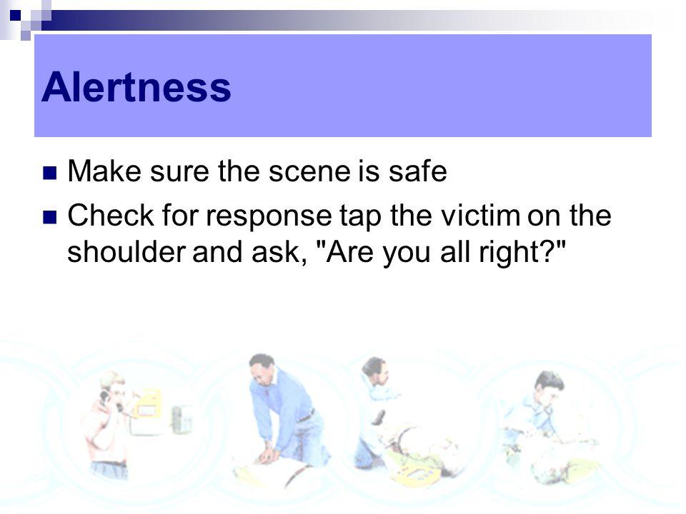 Alertness Make sure the scene is safe